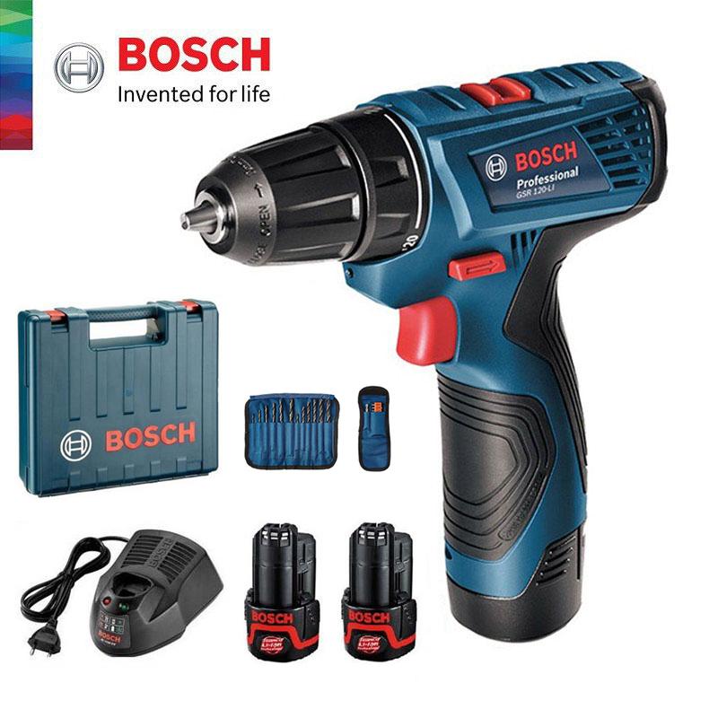 Máy khoan pin vặn vít Bosch GSR 120-LI (2 pin 1 sạc + phụ kiện)